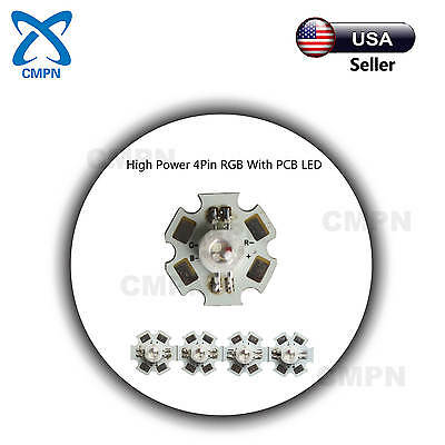 10Pcs 1W High Power RGB Tri-Color 4Pin SMD LED Chip Light Bead With Star PCB