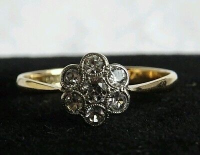 Edwardian Belle Epoque 18 Ct Gold & Platinum Daisy White Spinel Ring size M 1/2