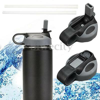 Sport Water Bottle Portable Flip Cap For Hydro Flask Wide Mouth + 2Pcs Straws