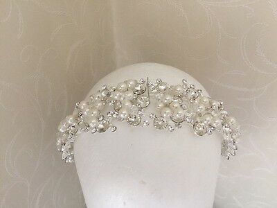 Ivory Pearl Diamanté Wedding Hair Piece Thick Headband Accessories