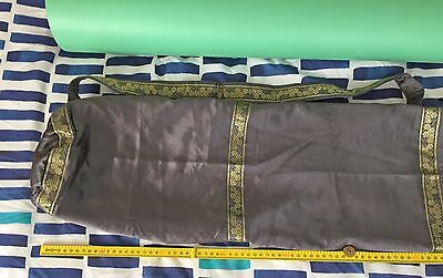 Gorgeous Hand Made Yoga Mat Bag Lined in deep metallic grey with intricate gold