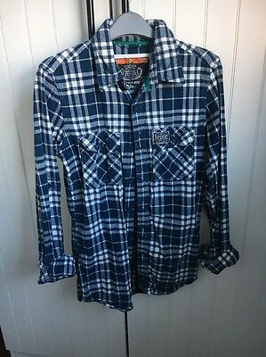 Checked Blue And White Shirt Superdry S/M Unisex