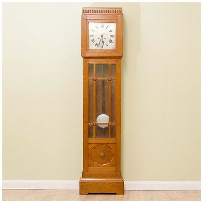 Arts and Crafts Oak Three Train 8 Day Westminster Chime Longcase Clock 1930