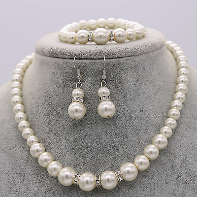 Wedding Bride Bridesmaid Pearl Crystal Necklace Earrings Bracelet Set Jewelry UK
