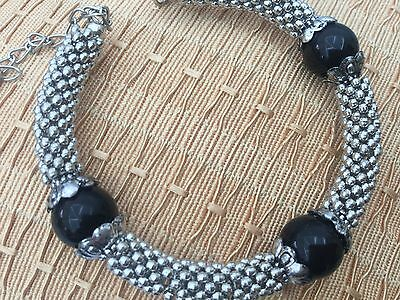black bead and silver tibetan bracelet perfect gift idea for Birthday Valentines