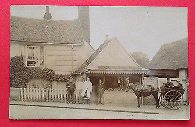 People -  Men in Horse & Buggy & Men Standing by Snow's Butchers, RP PC PM 1907