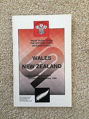 Wales v New Zealand All Blacks 1989 rugby programme
