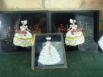 3 lovely Art Deco Crinoline Lady foil under glass pictures needs some TLC