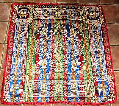 """Vintage Antique Woven Silk Jewel Coloured Throw Wall Hanging 50"""" By 52"""""""