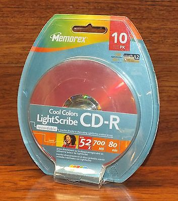Genuine Memorex Recordable Cool Colors LightScribe CD-R (10 Pack) 52x 700 MB!
