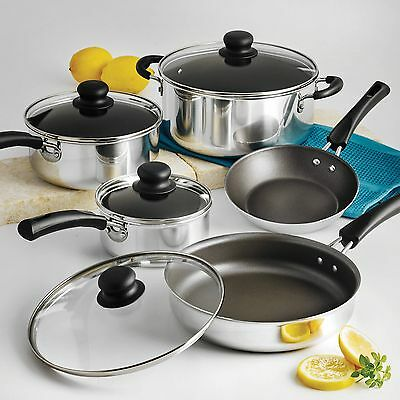Cookware Set Simple Cooking Nonstick Pots Pans 9 Piece Easy Cleanup Red/Polished