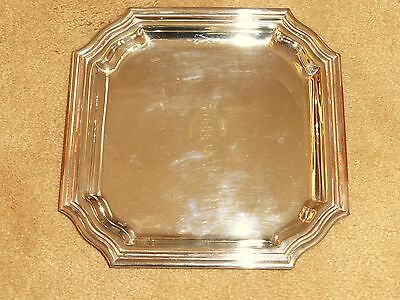 QUALITY VINTAGE TIFFANY & Co SILVER PLATE CARD TRAY / SALVER ~ GOODWOOD INSIGNIA