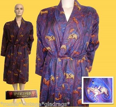 ViNtAgE equestrian HYDE PARK Horse cotton dressing gown robe smoking jacket Med