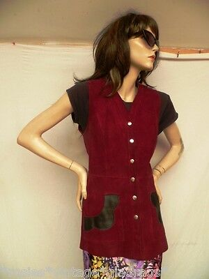 """ViNtAgE 1960s -70s red suede long hippy waistcoat fitted Boho jacket sz 36"""""""
