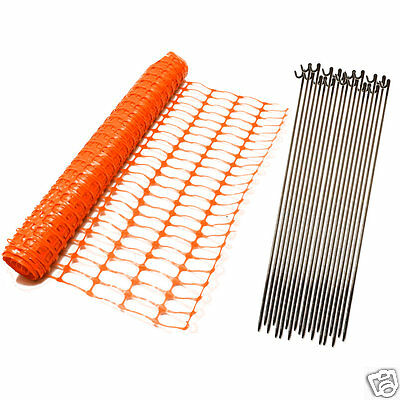 50m Orange Safety Barrier Mesh Fence + 10 Fencing Pins. Events, Garden, Projects