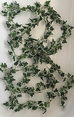 Artificial Flowers - Greenery 2 X Large Variegated Ivy Leaf Garlands  Decor