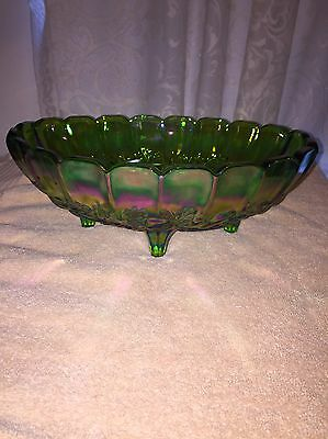 Indiana Glass Oval Center Bowl Iridescent Lime Green With Box