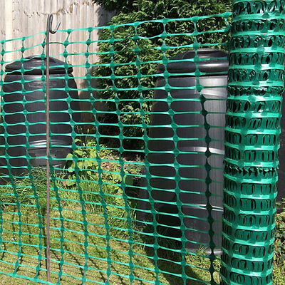 1m x 50m Green Plastic Barrier Mesh Temporary Safety Fence & 20 Fencing Pins 8mm