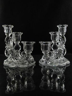 Cambridge Rose Point Three Light Candlesticks, Set of (2), Collector's Condition