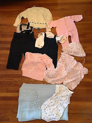Vintage baby clothes, overalls, blanket Lot 13 pieces