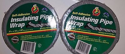 """2- DUCK Pipe Wrap Insulation Tape 2"""" X 1/8"""" X 15' Long Self Adhesive Foil"""