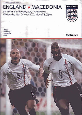England v Macedonia Official Matchday Programme - Wed 16th October 2002