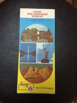 Vintage 1973 Sunoco DX Maine New Hampshire Vermont Road Map