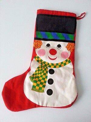 Vintage Christmas Double Sided Printed Snowman Stocking