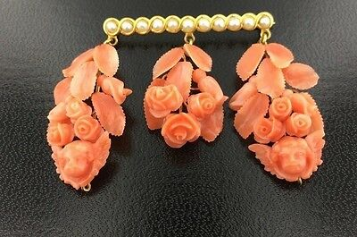 Antique 14k yellow gold genuine carved Coral & Oriental Pearl brooch