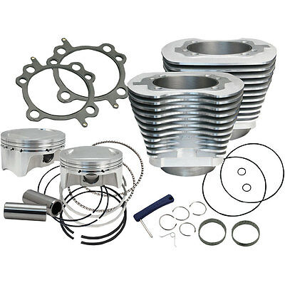 """S&S Cycle Silver Powdercoat Big Bore 98"""" Kit for 1999-2006 Harley Twin Cam"""