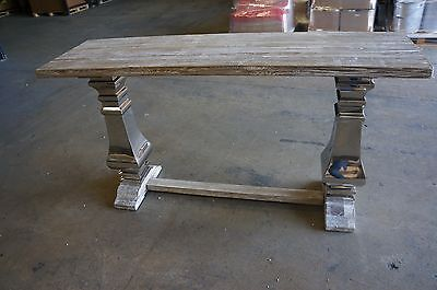 Reclaimed Oak Large Hall Table with Chrome Legs