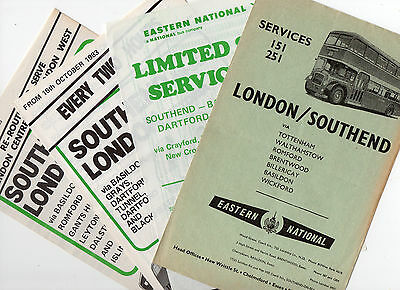 Eastern National bus timetable leaflets x 6