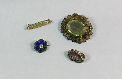 Joblot 4 Victorian Edwardian antique brooches repair rolled gold brooch