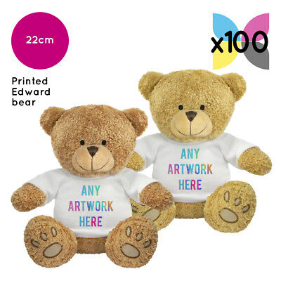 100 Personalised Promotional Soft Toys Edward Teddy Bears Gifts Ur Logo Printed