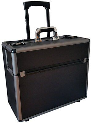 New Aluminium Black Pilot Case Wheeled Briefcase Carry Case Travel Work Business