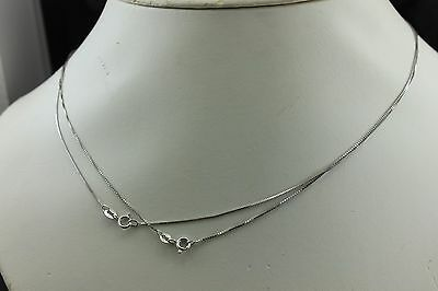 """Two 14k white gold 18"""" .7mm box chain necklaces kinked sold as is estate 2.44g"""