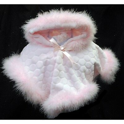 Lovely Baby Girl Pink Soft Fleece Poncho Feather trim/ Hooded/ 0-3 Months to 24M