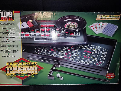 NEW Championship Casino Deluxe Table Game Set BLACKJACK CRAPS ROULETTE Table