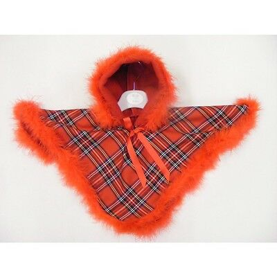 Lovely Baby Girl Tartan Poncho Feather trim/ Hooded/ 0-3 Months to 24M/Pink/Red