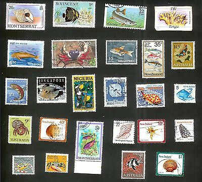 Fish And Shells - 25 Stamps All Different