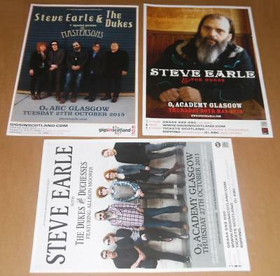 Steve Earle posters - collection of 3 tour concert / gig poster