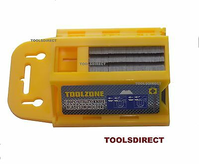 """100 heavy duty Utility Blade in Dispenser Holder fit """"Stanley"""" Knife 0.6mm thick"""