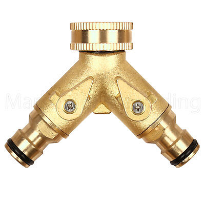 """Double Dual Outside Tap Connector 1/2"""" 3/4"""" Brass Quick Fix Metal Hose Green Jem"""