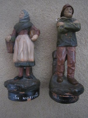 Vintage / Antique Painted Clay  Figures - French - Pair