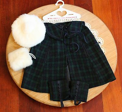 American Girl Doll Samantha Watch Plaid Cape & Gaiters, Muff & Cap, P.C. VGC!