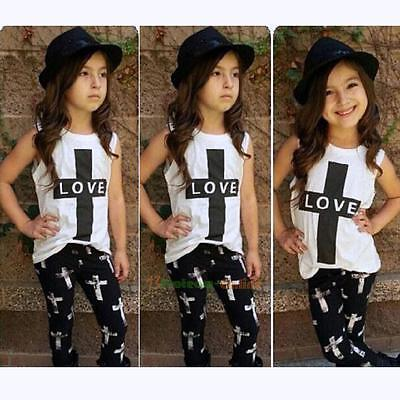2PCS UK Toddler Kids Baby Girls Outfit Clothes Vest Tops+Long Pants Trousers Set