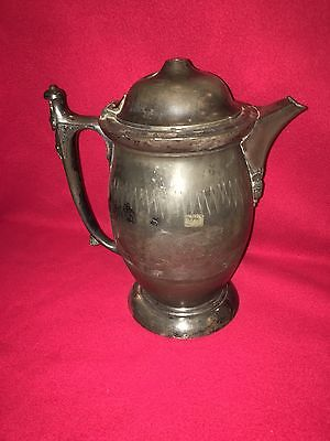Antique T. Union Silverplate Plate Pitcher Engraved Polar Bear Fighting Scene