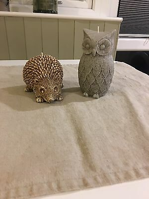 Owl And Hedgehog Candle-never Used