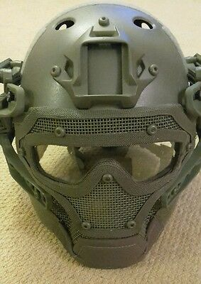 military army helmet with face visor airsoft paintball new