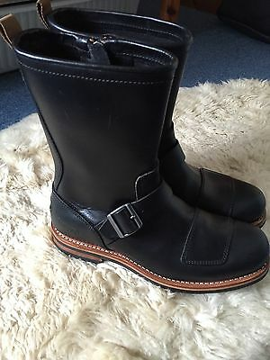 Clarks Norton Brass Black Leather Motorcycle Boots Brand New Size 9